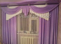 Фиолетовые шторы с ламбрекеном