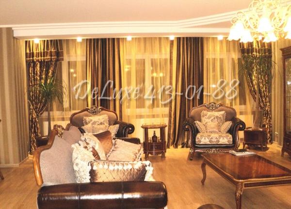 Комбинированные шторы в гостиную